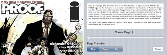 iVerse's comic system reduces the cover size and allows you to read panel by panel for a great price.