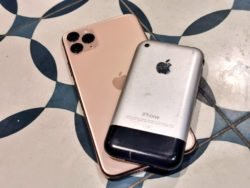 Rear shot of the first iPhone compared with the iPhone 11
